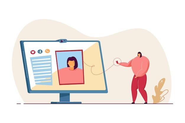 Mädchen, das profilbild für soziales netzwerk macht. foto auf flacher vektorillustration des computerbildschirms. avatar, benutzerbild, fotografiekonzept für banner, website-design oder landing-webseite