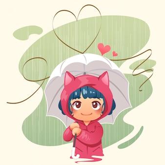 Mädchen, das regenschirm im regen und im abstrakten herzen hält