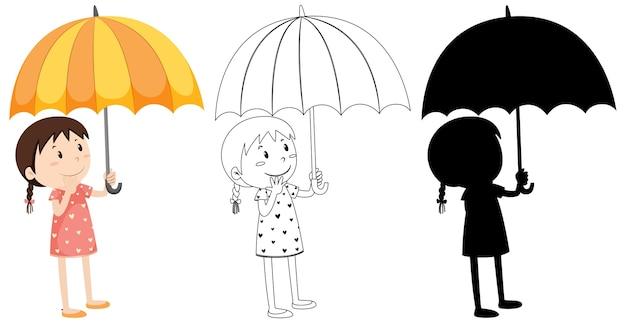 Mädchen, das regenschirm in farbe und schattenbild und umriss hält