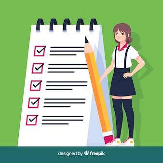 Mädchen, das riesigen checklistenhintergrund überprüft