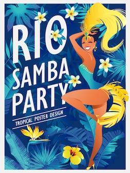 Mädchen, das samba schönen brasilianer im festlichen kostüm tanzt