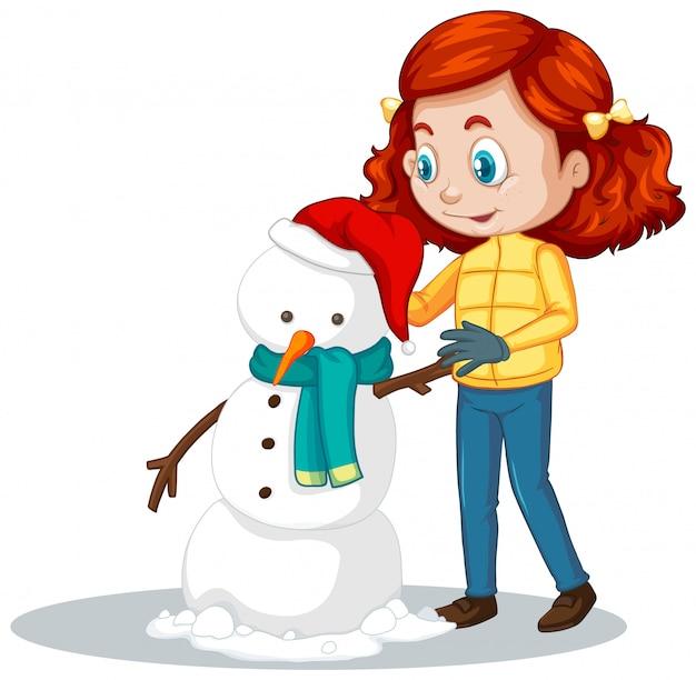 Mädchen, das schneemann auf weiß macht