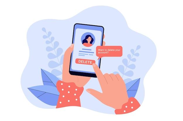 Mädchen, das sein soziales netzwerkkonto und informationen von der website löscht