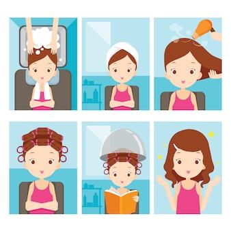 Mädchen, das sich im friseursalon entspannt