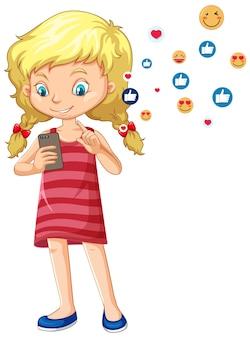Mädchen, das smartphone mit emoji-symbolkarikaturstil der sozialen medien lokalisiert auf weißem hintergrund verwendet