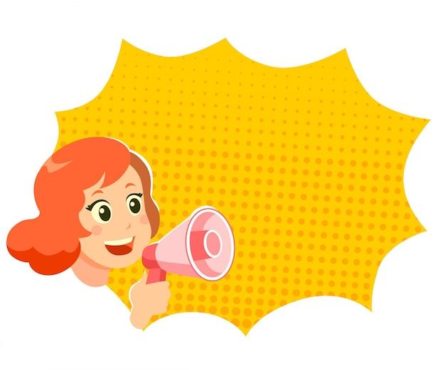 Mädchen, das sprecher innerhalb des ballontextes hält