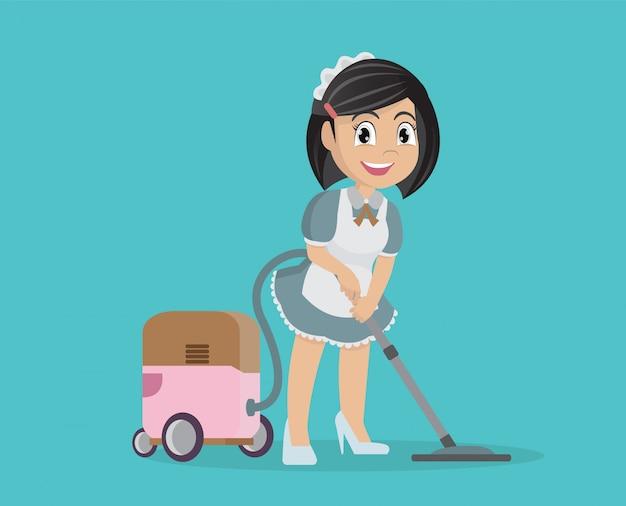 Mädchen, das staubsauger verwendet, um haus zu säubern.