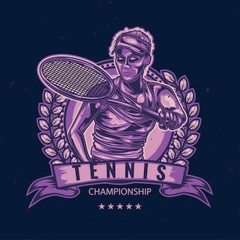 Mädchen, das tennisillustration spielt