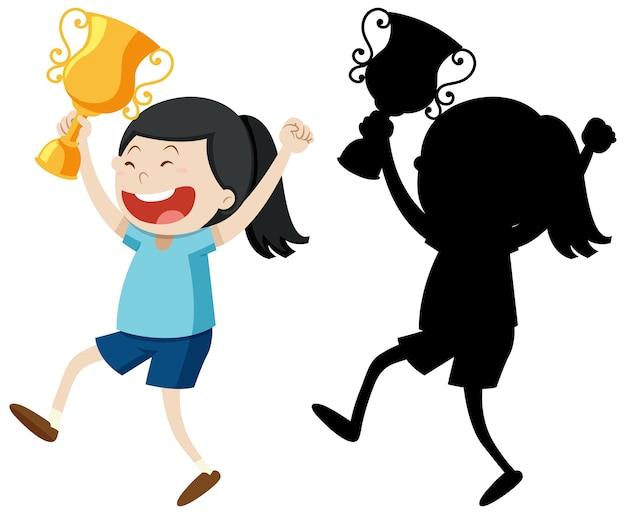 Mädchen, das trophäe mit ihrem umriss und der silhouette hält