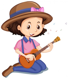 Mädchen, das ukulele auf weiß spielt