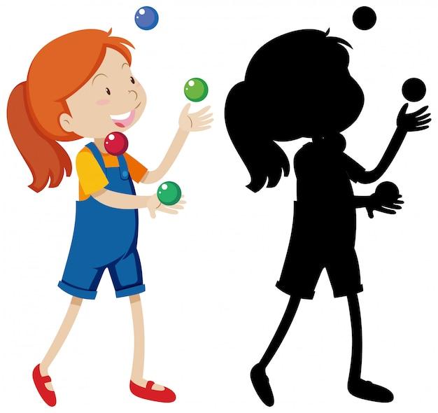 Mädchen, das viele bälle mit seiner silhouette spielt