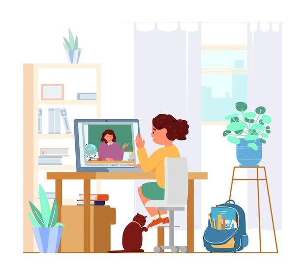 Mädchen, das vor laptop in ihrem zimmer sitzt