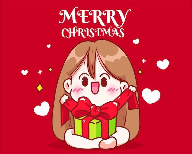 Mädchen, das weihnachten öffnet, stellt gezeichnete karikaturkunstillustration der weihnachtsfeiertagsfeier hand dar