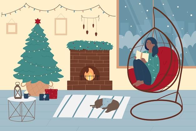 Mädchen, das weihnachtswinterurlaub mit buchillustration genießt.