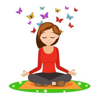 Mädchen, das yoga auf der matte tut, von hinter dem kopf fliegen schmetterlinge auf weiß.