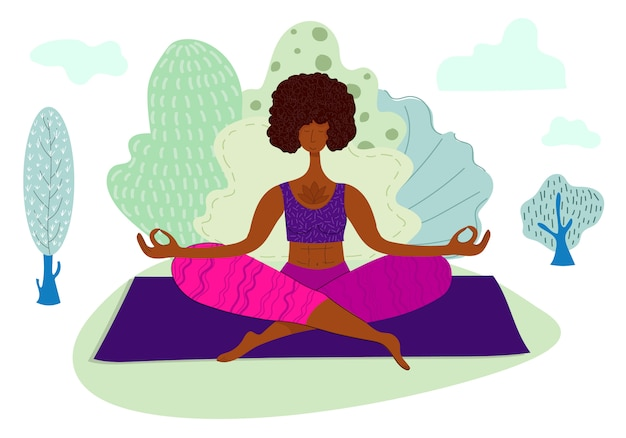 Mädchen, das yoga im park, frau im sport, gesunder lebensstil tut