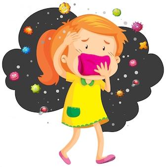 Mädchen deckt den mund von bakterien
