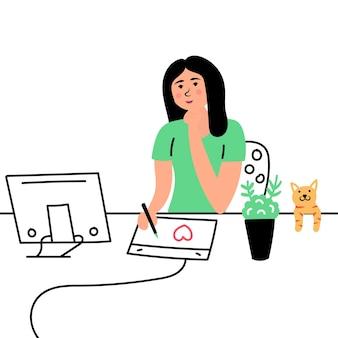 Mädchen-designer-arbeit künstler zeichnet katze sitzende grafik-tablet-computer-einstellung remote-arbeit freiberuflich