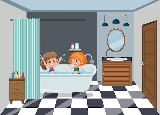 Mädchen, die auf dem badezimmer baden