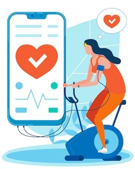 Mädchen, die auf dem fahrrad mit gesundheits-app trainieren.