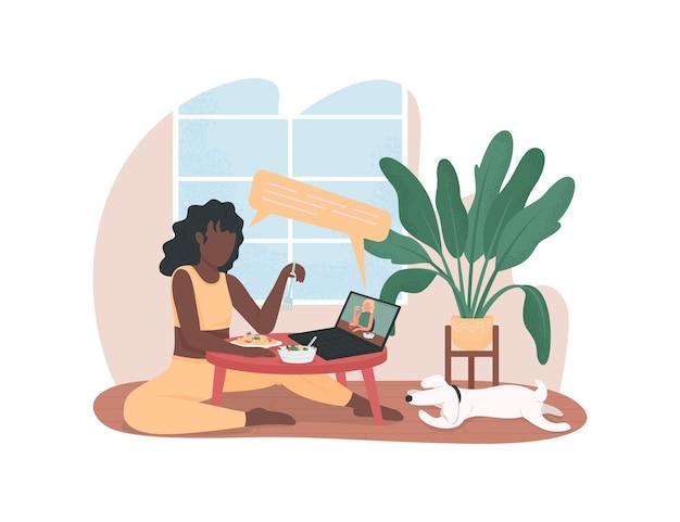 Mädchen, die auf flachen online-besprechungsfiguren auf cartoonhintergrund chatten