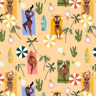 Mädchen, die auf handtüchern sommermuster legen. nahtloses handgezeichnetes musterdesign für textil, web-banner. sommerferienkonzept. hübsche mädchen, die sich am strand sonnen, palmen und sonnenschirme.
