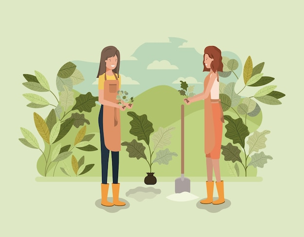 Mädchen, die bäume im park pflanzen
