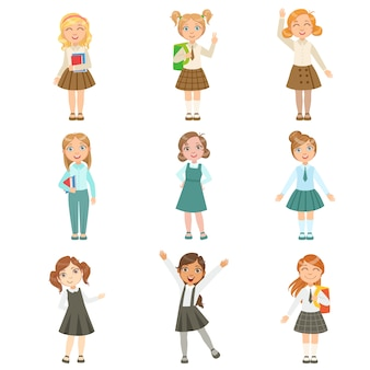 Mädchen, die eine auswahl an noblen schuluniformen tragen