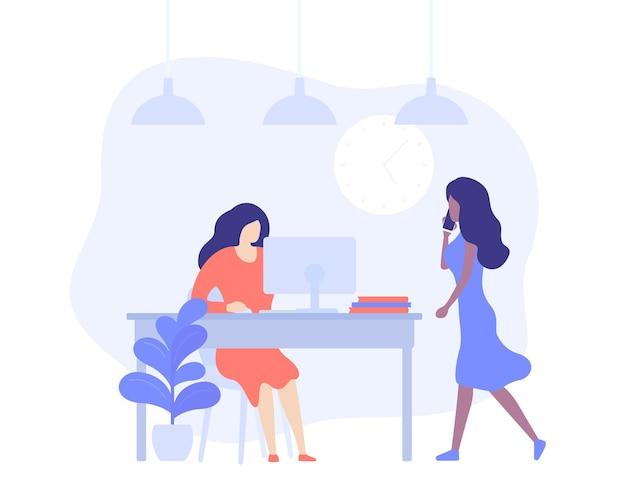 Mädchen, die in offenen büroräumen arbeiten, vektorillustration