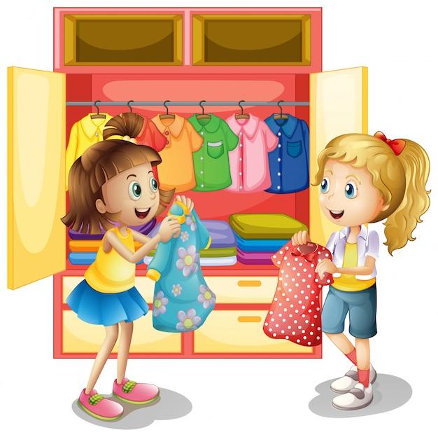 Mädchen, die kleider aus dem schrank holen