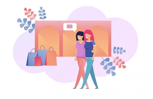 Mädchen, die langsames wochenenden-einkaufen und plaudern gehen