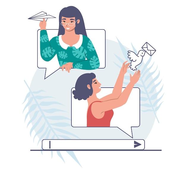Mädchen, die nachrichten, flache vektorillustration senden. online-gespräch zwischen zwei freundinnen. onlinekommunikation.