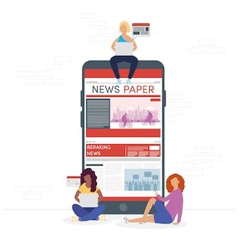 Mädchen, die online-nachrichten für smartphones verwenden