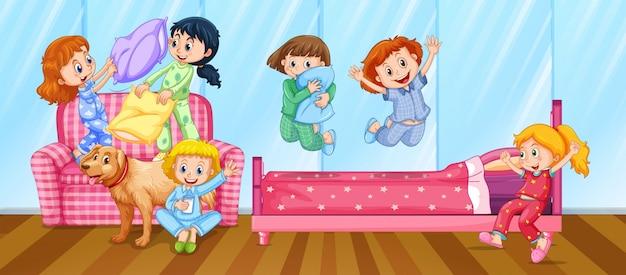 Mädchen, die pyjamaparty im schlafzimmer haben