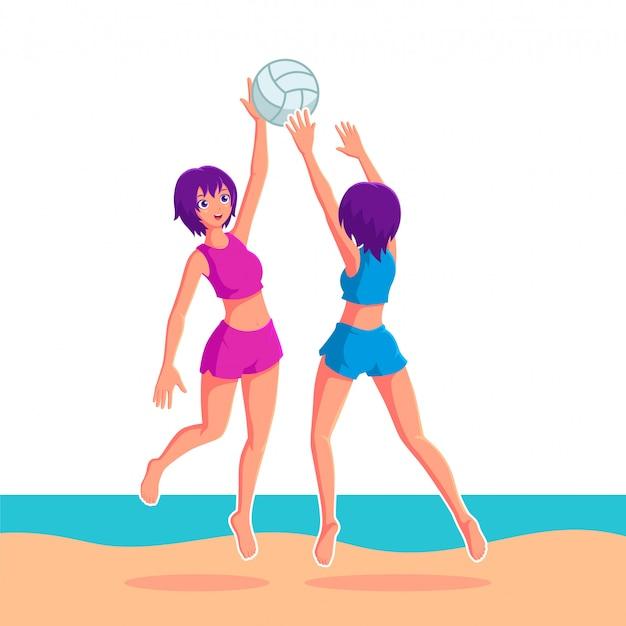Mädchen, die volleyball in der strandillustration spielen