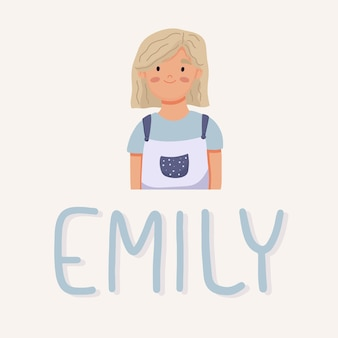 Mädchen emily-porträt. schüler der mittelschule. vektor-illustration