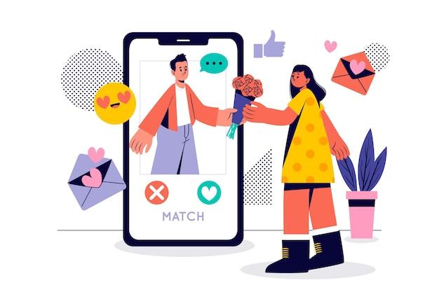 Mädchen empfängt blumen aus app