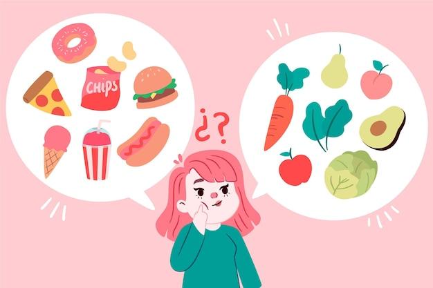 Mädchen entscheidet, was zu essen