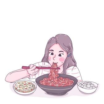 Mädchen essen nudelkarikaturcharakterillustration