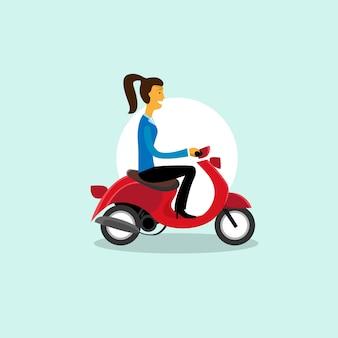 Mädchen-fahrmotorrad-roller