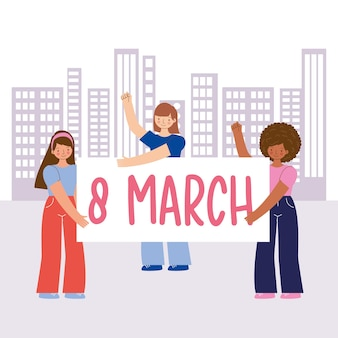Mädchen feiern internationalen frauentag im freien mit ankündigung. illustration