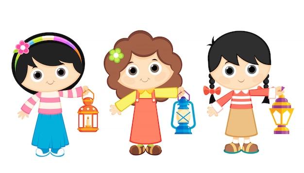 Mädchen feiern ramadan und tragen laternen