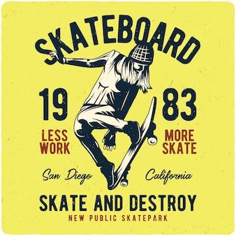 Mädchen fliegt auf skateboard