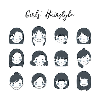 Mädchen frisur icon set