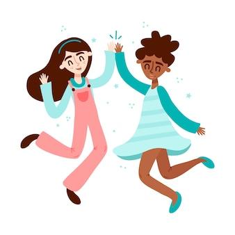 Mädchen geben high five
