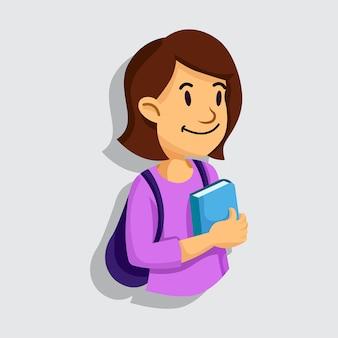 Mädchen geht zur schule oder zum campus