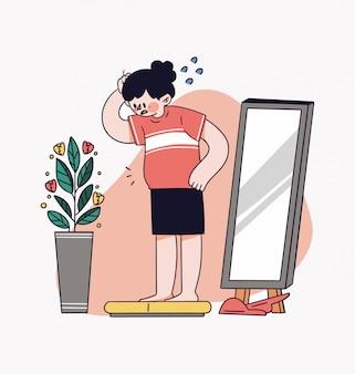 Mädchen-gewichtszunahme-konzept-illustration