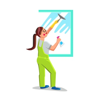 Mädchen glasreinigung mit pinsel und sprüher vektor. junge frau fensterglasreinigung mit waschmittel, hygieneberuf. charakter-haushalts- oder sauberer service-geschäfts-flache karikatur-illustration