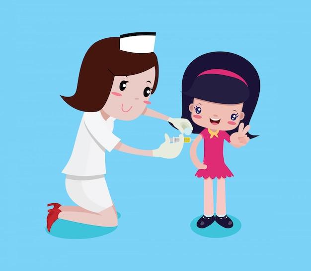 Mädchen glücklich, während die krankenschwestern spritzen