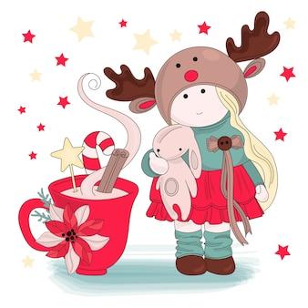 Mädchen-gratulation frohe weihnachten-vektor-illustrations-satz